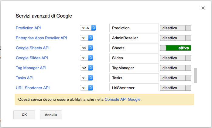 modal dei servizi avanzati di google in apps script