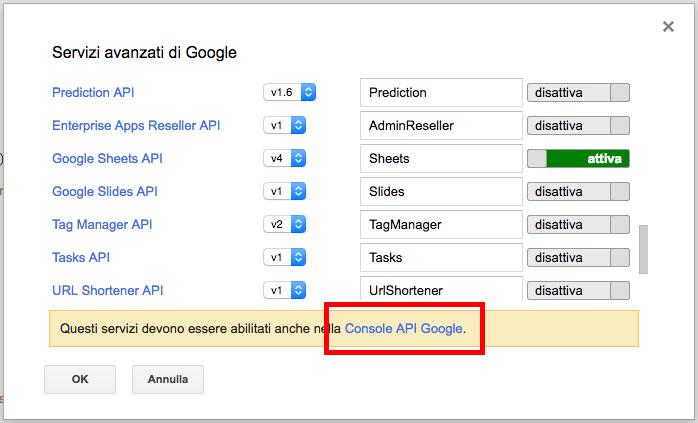 link per la google api console dalla modal dei servizi avanzati di google in apps script