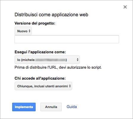 impostazioni per la distribuzione dello script come applicazione web