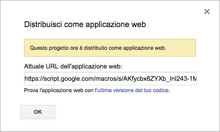 finestra con il link pubblico dell'applicazione web in apps script