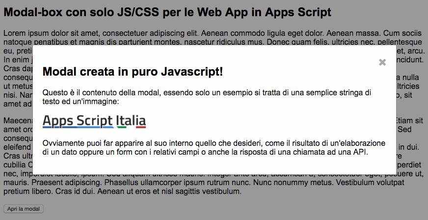 pagina html creata con apps script con modal box in puro Javascript
