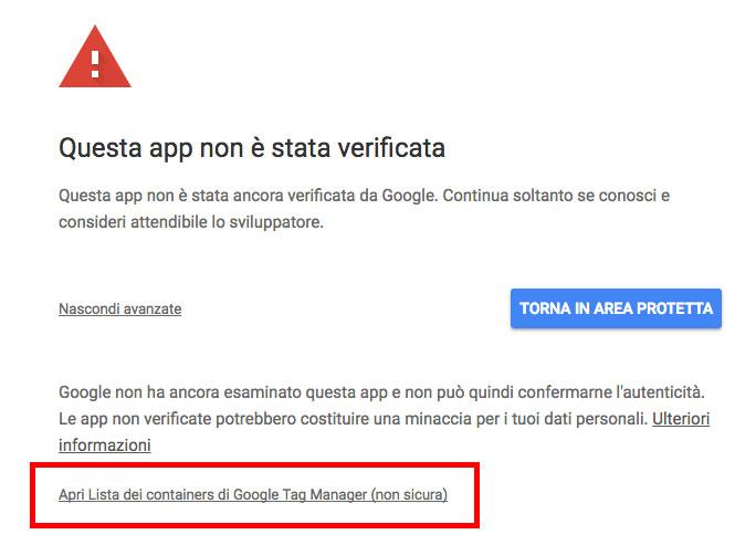 link per procedere con la richiesta di autorizzazioni per l'app non ancora verificata da google