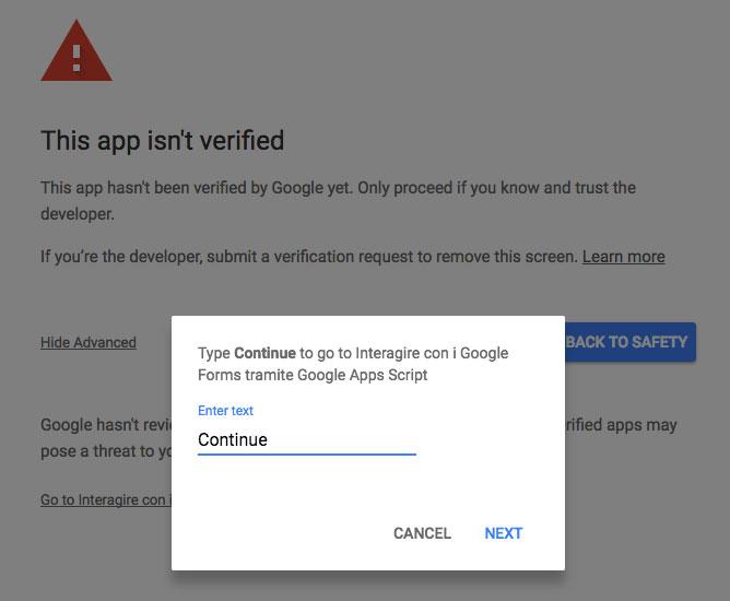 captcha anti-bot per procedere con la richiesta di autorizzazioni