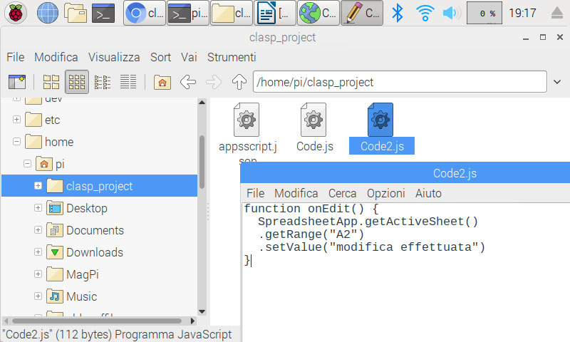 modificare i file in locale con clasp