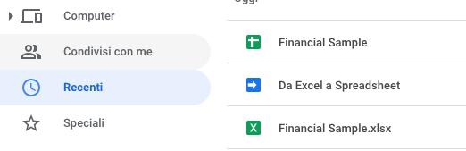file recenti in google drive