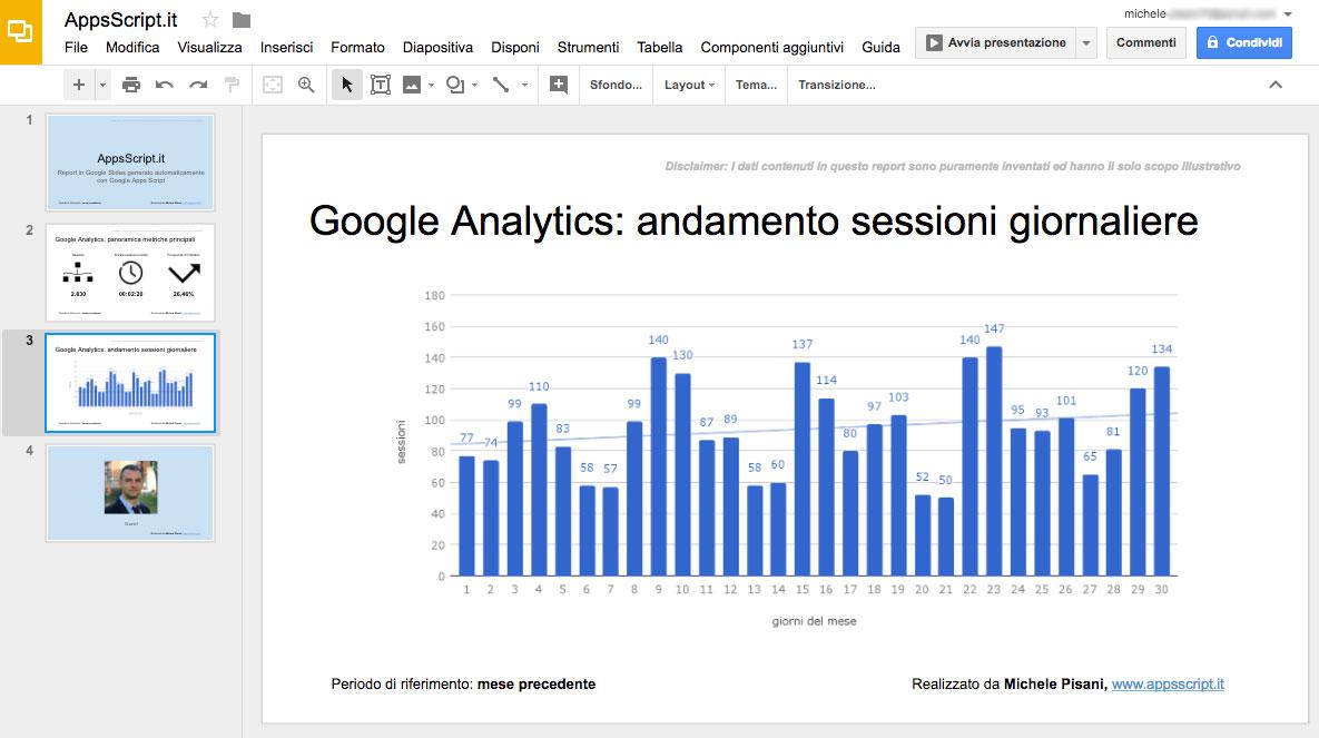 Grafico importato da uno Spreadsheet in una slide di Google Slides con Apps Script