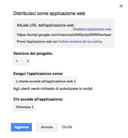 esempio di autorizzazioni dello script per la sua distribuzione come web app