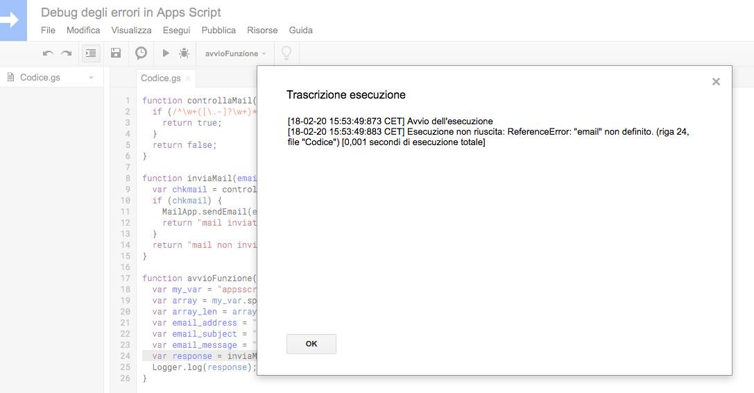 errore logicomostrato in trascrizione esecuzione in google apps script