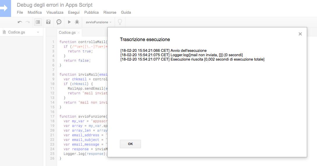 trascrizione esecuzione che mostra il completamento dell'operazione in google apps script