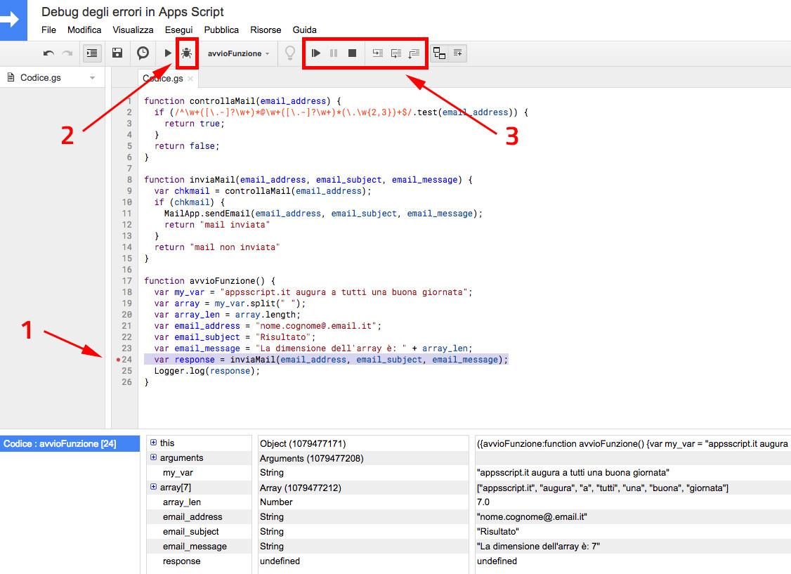 debug ed impostazione breakpoint in google apps script