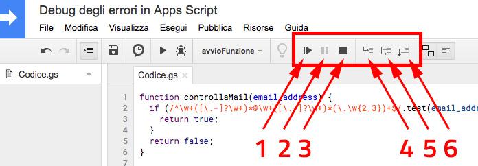 comandi di navigazione del debug in google apps script
