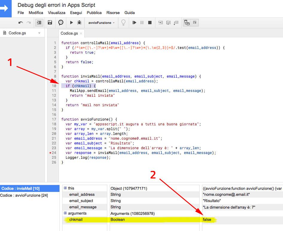 Identificazione delle anomalie tramite la navigazione nel debug in google apps script