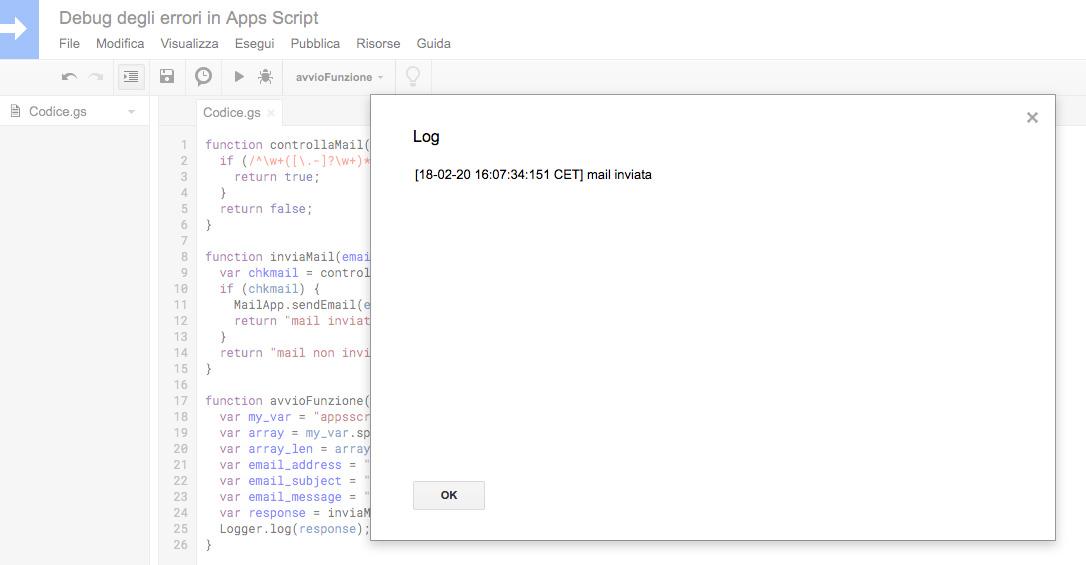 messaggio di log con informazione di avvenuto invio mail in google apps script