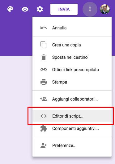 Apertura dell'editor di script di un Google Form