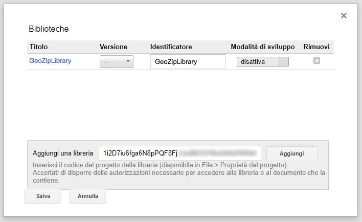 aggiunta di una libreria ad un progetto apps script