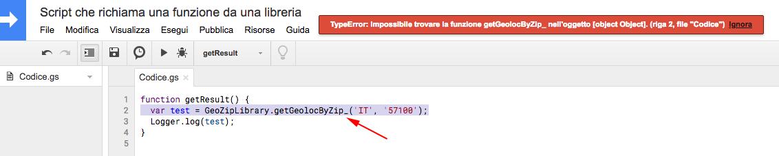 errore restituito dallo script in caso di chiamata di una funzione privata