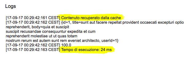 file di log con il tempo di esecuzione per il recupero informazioni dalla cache