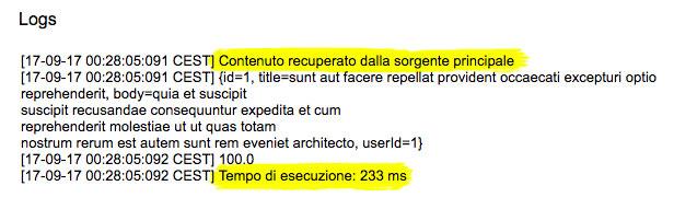 file di log con il tempo di esecuzione per il recupero informazioni da un servizio web esterno