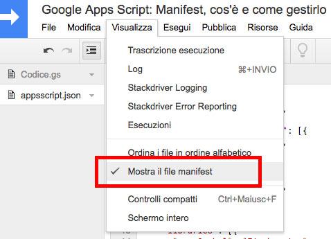 percorso nel menu dell'editor di script per aprire il file manifest