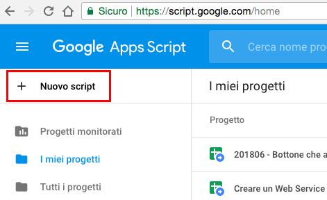 accesso all'editor di script di google apps script dalla homepage dei propri progetti