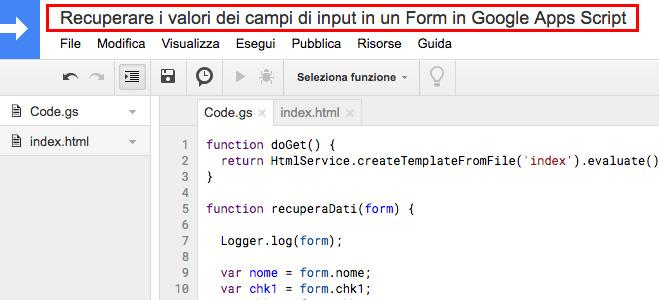 editor di google apps script - nome del progetto
