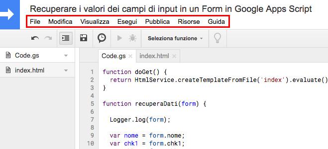 editor di google apps script - barra dei menu