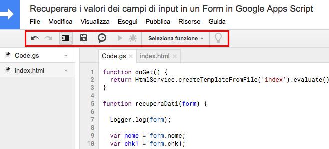 editor di google apps script - barra degli strumenti