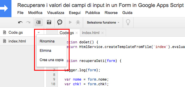 editor di google apps script - barra laterale dei file - menu contestuale