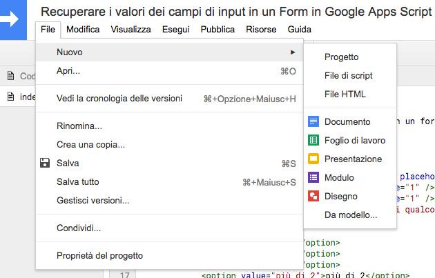 editor di google apps script - barra dei menu - file