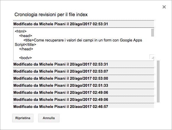 editor di google apps script - barra dei menu - file - cronologia