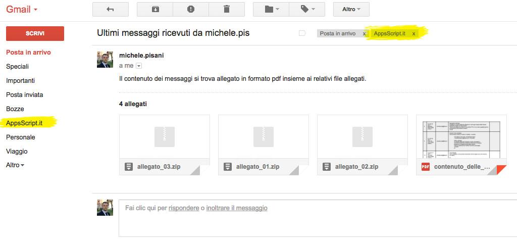 messaggio riepilogativo inviato contenente gli allegati originali dei vari messaggi ed il file pdf con le informazioni di ciascun messaggio processato