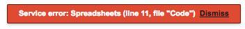 Service error: Spreadsheets