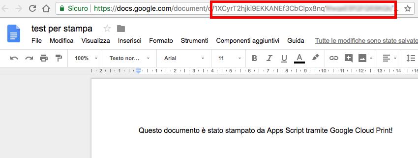file google doc di esempio per la stampa