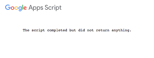 The script completed but did not return anything