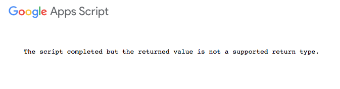 The script completed but the returned value is not a supported return type
