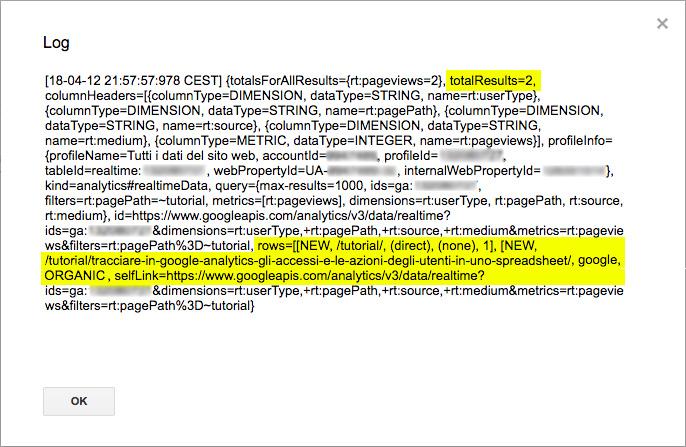 esempio di risultato di un interrogazione alle api in tempo reale di google analytics