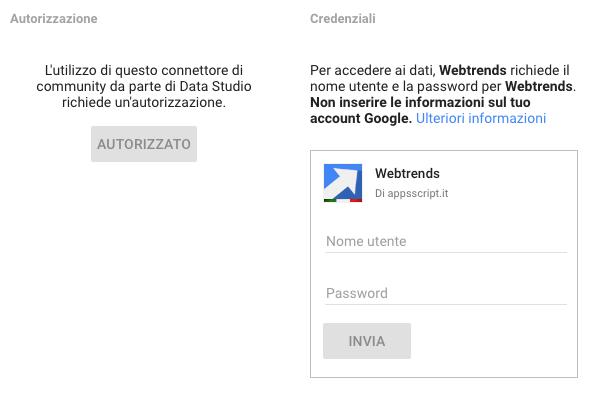 webtrends data studio community connector - credenziali di accesso