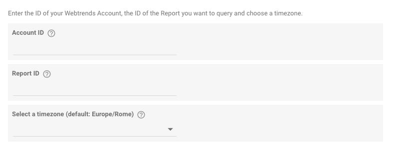 webtrends data studio community connector - dati per il recupero del report