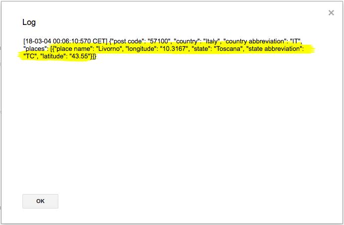 log di apps script con le informazioni georeferenziate del cap di livorno