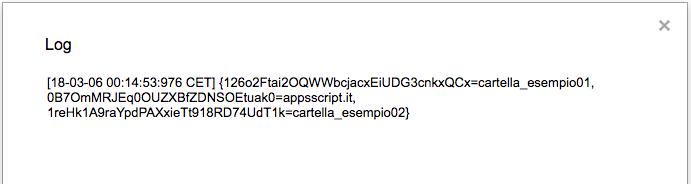 esempio di un risultato della lista di nomi e id delle cartelle nella root di Drive