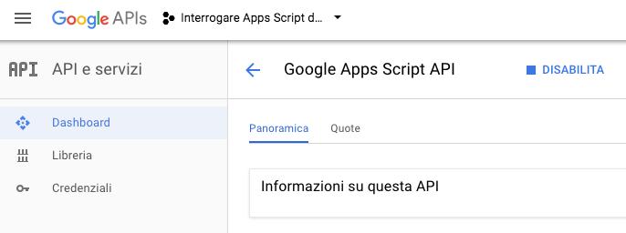google console del progetto per abilitare le google apps script api