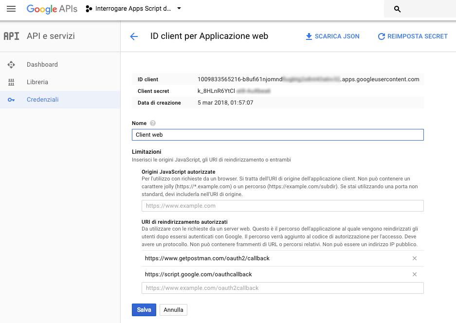 id client e client secret nella google console del progetto apps script