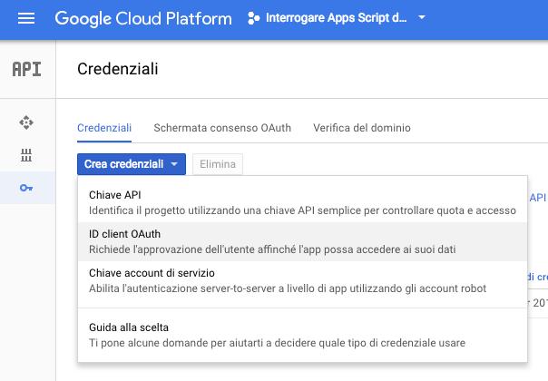 creazione credenziali di tipo id client oauth nella google console del progetto apps script