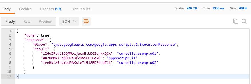 esempio di risposta ad una chiamata in remoto con postman ad una funzione in apps script