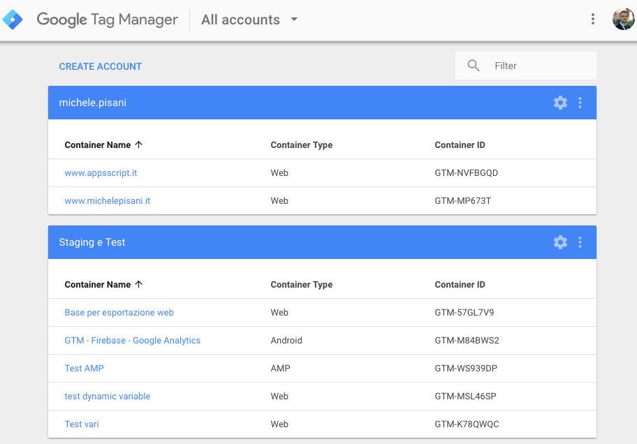 Lista degli account e dei containers in Google Tag Manager
