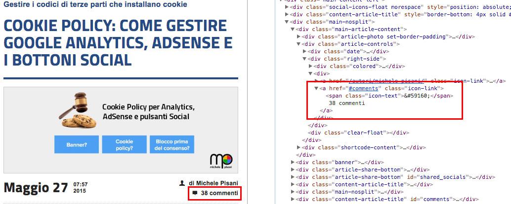 Pagina target con evidenziato il valore da recuperare ed il relativo codice HTML