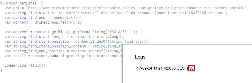 risultato del parsing html visualizzato nella finestra di log