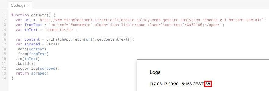 Risultato del parsing HTML ottenuto con la libreria segnalata visualizzato nella finestra di log