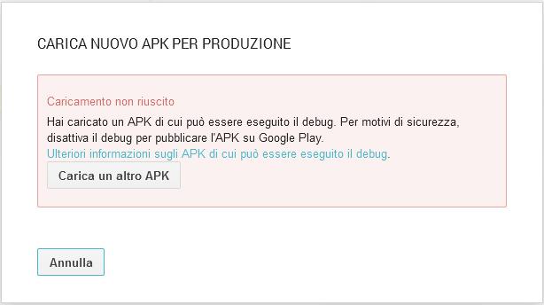 Android - Hai caricato un apk di cui può essere eseguito il debug