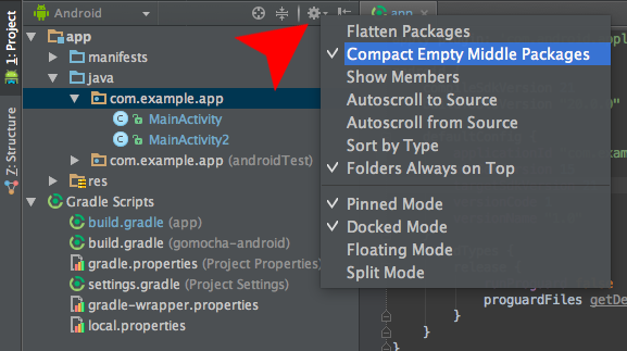 Android - Compact Empty Middle Packages